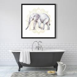 Framed 36 x 36 - Elephant on mandalas