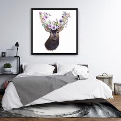 Framed 36 x 36 - Roe deer head with flowers
