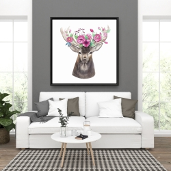 Framed 36 x 36 - Deer head with flowers