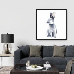Framed 36 x 36 - Gray curious rabbit