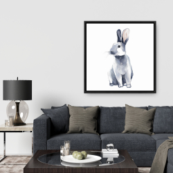 Framed 36 x 36 - Gray curious rabbit