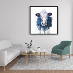 Framed 36 x 36 - Watercolor cow