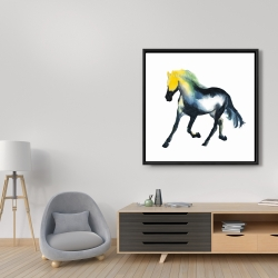 Framed 36 x 36 - Galloping colorful horse