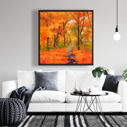 Framed 36 x 36 - Autumn trail in the forest