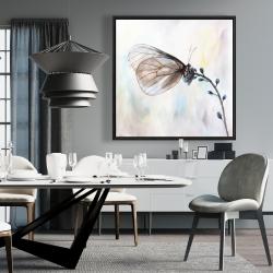 Framed 36 x 36 - Butterfly on blue flowers