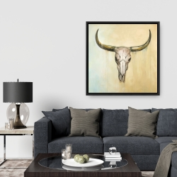 Framed 36 x 36 - Cow skull