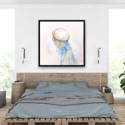 Framed 36 x 36 - Watercolor jellyfish