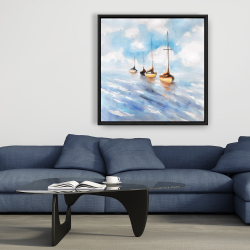 Framed 36 x 36 - Sailboats in the sea