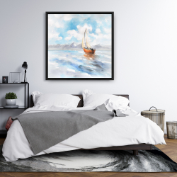 Framed 36 x 36 - Sailboat landscape