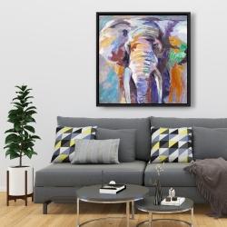 Framed 36 x 36 - Elephant in pastel color