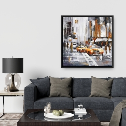 Framed 36 x 36 - Abstract citystreet with yellow taxis