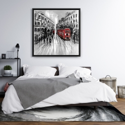 Framed 36 x 36 - Black and white street with red bus