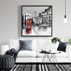 Framed 36 x 36 - Abstract gray city with red bus