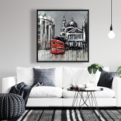 Framed 36 x 36 - London street with red bus
