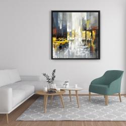 Framed 36 x 36 - Rainy busy street