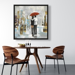 Framed 36 x 36 - Couple walking under their umbrella