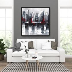 Framed 36 x 36 - Abstract cityscape