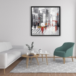 Framed 36 x 36 - Abstract cloudy city street