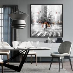 Framed 36 x 36 - Greyish flatiron building