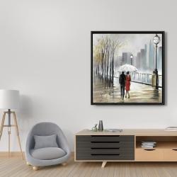 Framed 36 x 36 - Couple walking under the rain