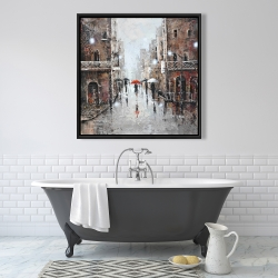 Framed 36 x 36 - City rain