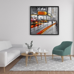 Framed 36 x 36 - Gray street with orange accents