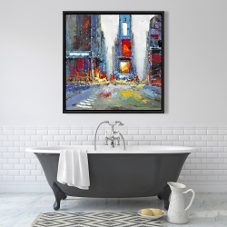 Framed 36 x 36 - Abstract and colorful buildings