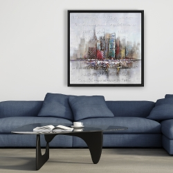 Framed 36 x 36 - Cityscape with typography in relief