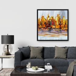 Framed 36 x 36 - Orange buildings