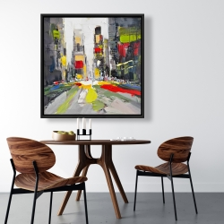 Framed 36 x 36 - Abstract texturized cityscape