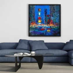 Framed 36 x 36 - Colorful and abstract times square by night