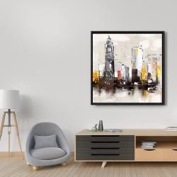 Framed 36 x 36 - Artistic cityscape