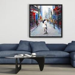 Framed 36 x 36 - Couple kissing on the street