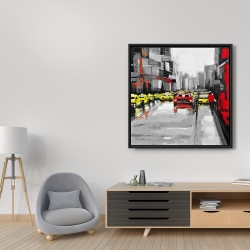 Framed 36 x 36 - Abstract traffic by a rainy day