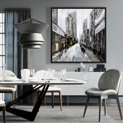Framed 36 x 36 - Gray gloomy street