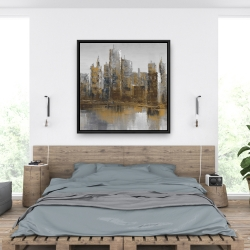 Framed 36 x 36 - Gray and yellow cityscape