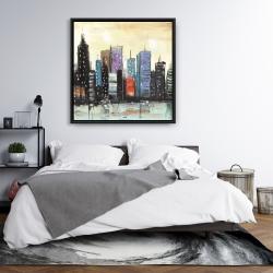 Framed 36 x 36 - Skyline on abstract cityscape