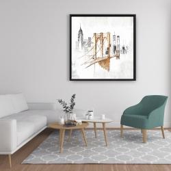 Framed 36 x 36 - Brooklyn bridge blurry sketch