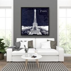 Framed 36 x 36 - Paris blue print and eiffel tower