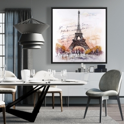 Framed 36 x 36 - Eiffel tower sketch with an handwritten message