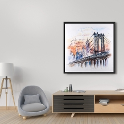Framed 36 x 36 - Bridge sketch