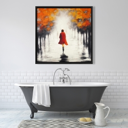 Framed 36 x 36 - Woman with a red coat by fall