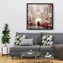 Framed 36 x 36 - Busy street of paris with eiffel tower