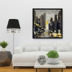 Framed 36 x 36 - Abstract and texturized city with yellow taxis