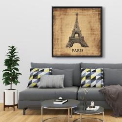 Framed 36 x 36 - Eiffel tower illustration