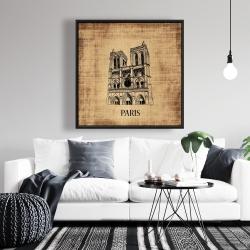 Framed 36 x 36 - Notre-dame de paris illustration