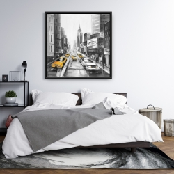 Framed 36 x 36 - Grayscale street with yellow cars