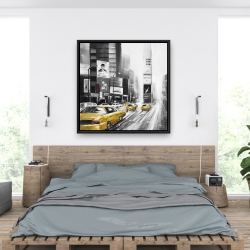 Framed 36 x 36 - Traffic of yellow cars in a gray city