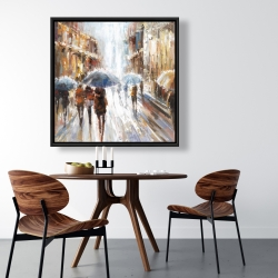 Framed 36 x 36 - Abstract passersby in the city