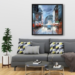 Framed 36 x 36 - Abstract red and blue city